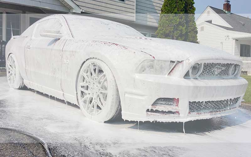 Wash the car with soap
